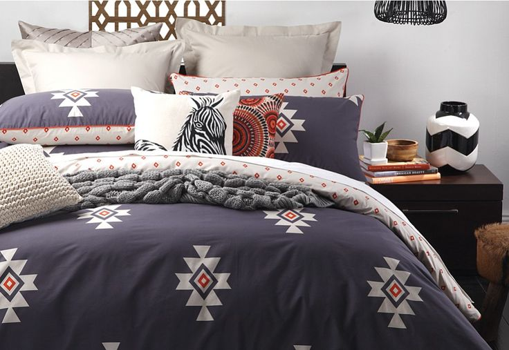 Arizona Indigo Queen Quilt Cover Set. | Super Amart