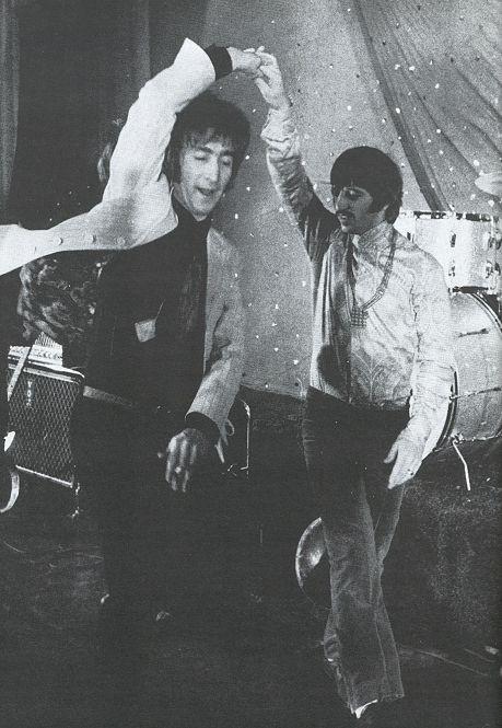 John Lennon and Ringo Starr. Dancing the night away.