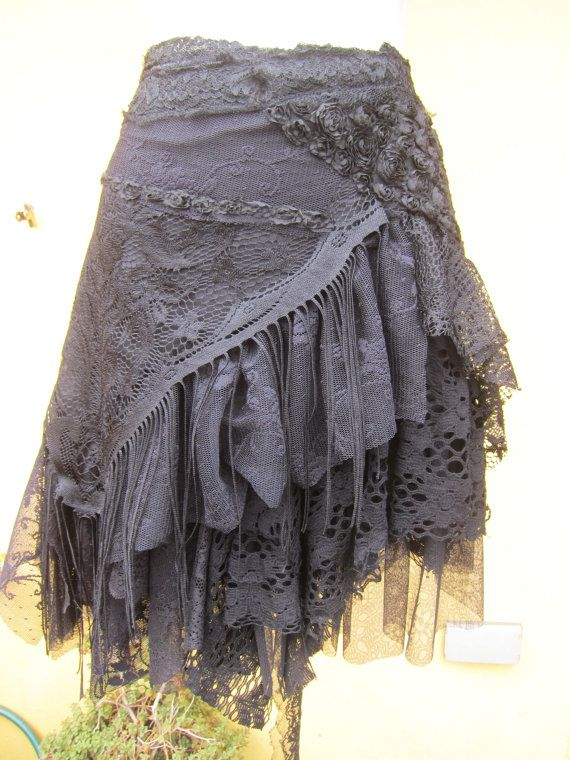 vintage inspired extra shabby gothic cotton wrap skirt/shawl...a work of art and…