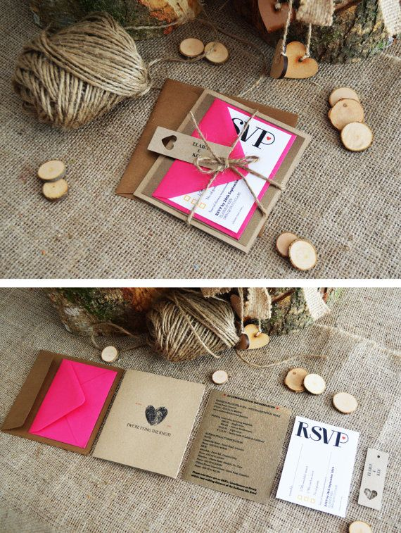 10 x Fuschia/Bronze Wedding Invitation / Rustic Metallic Kraft Wedding Invitation Suite with twine - 'Fuschia loves Bronze'
