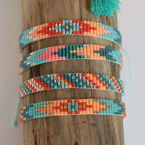 Bracelet beads woven miyuki, width 7 mm, length of the bracelet closes with a…