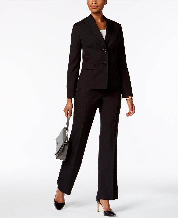 Le Suit Tonal Pinstripe Pantsuit - Suits & Suit Separates - Women - Macy's