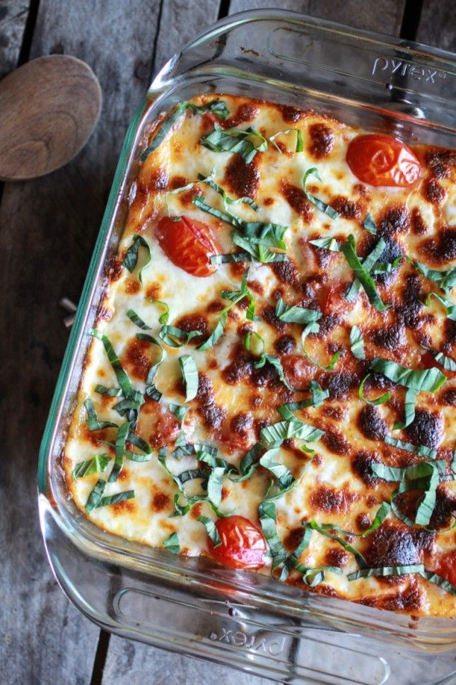 Quinoa takes the place of pasta in this healthy Creamy Caprese Quinoa Bake.