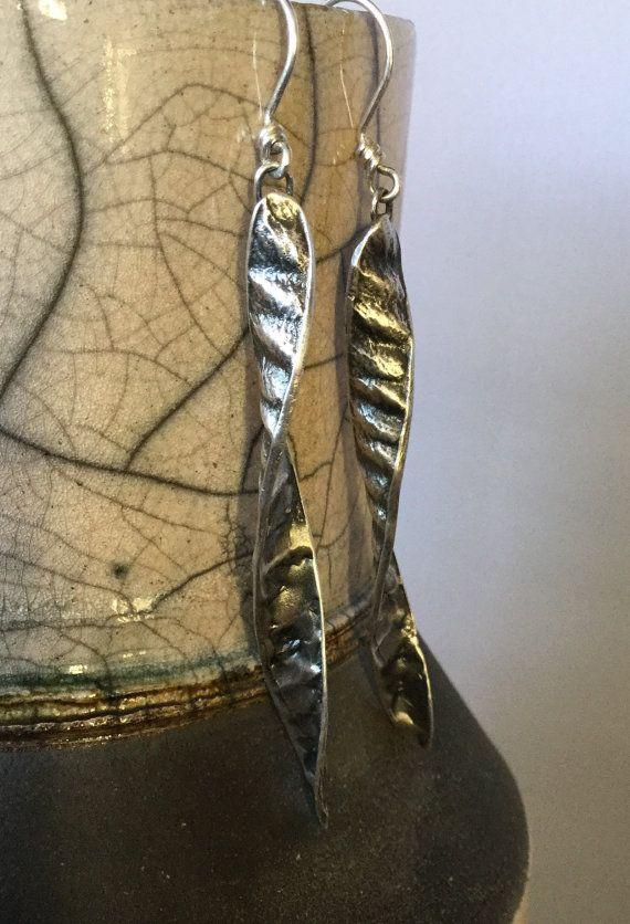 Sterling Silver, Southwest, Spiral, Botanical, Spanish Broom, Seed Pod, Dangle Earrings, Large