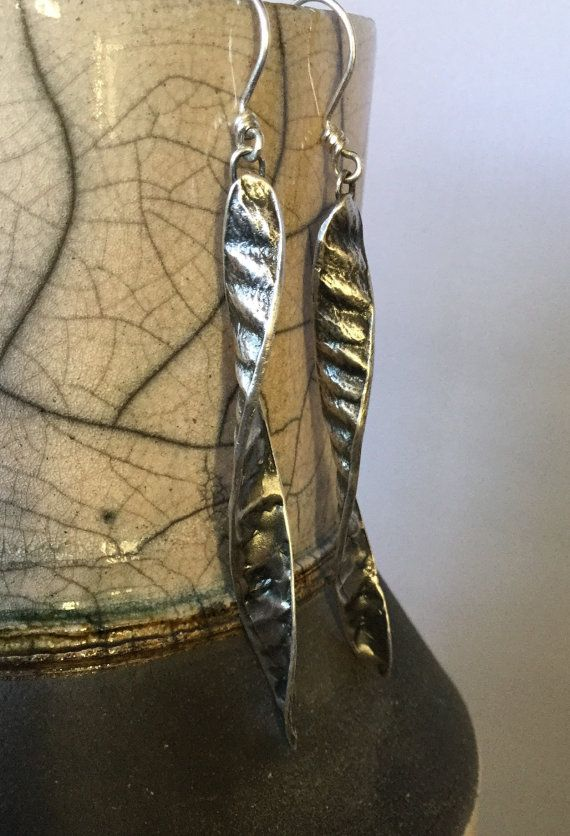Sterling Silver, Southwest, Spiral, Botanical, Spanish Broom, Seed Pod, Dangle Earrings, Large