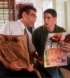 "This is a scene from the controversial comedy ""American Pie."" In the scene the father is explaining to his son on how to use pornographic magazines and reassuring him that it's okay to use them."