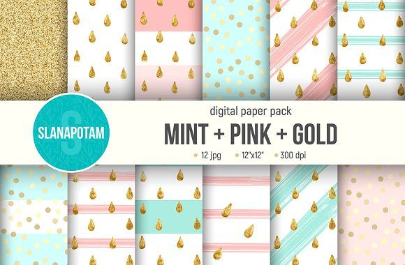 Digital paper pack MINT+PINK+GOLD by Slanapotam on @creativemarket