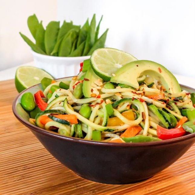 """Ditch the carbs and make your own veggie """"noodles"""" out of zucchini for this Vegan Pad Thai recipe."""