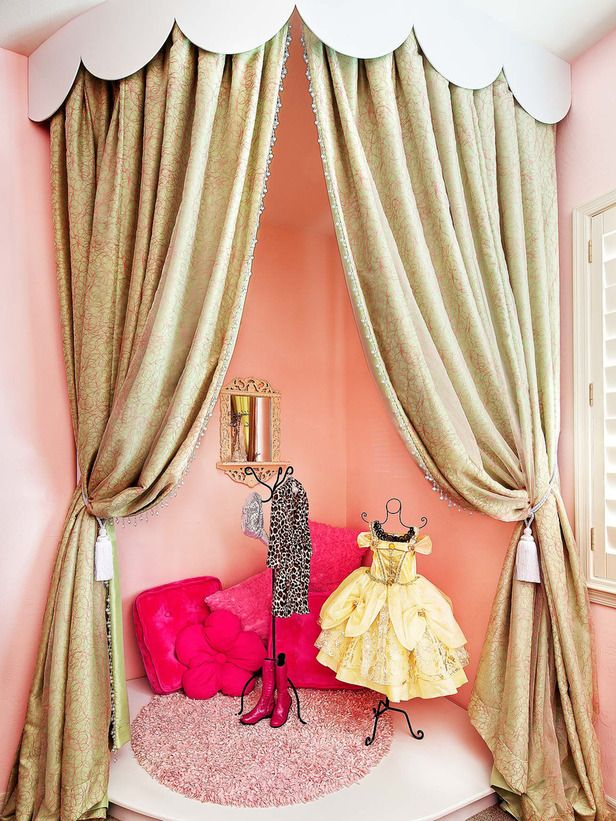 The 5x5 corner of this little girl's room was transformed into a dramatic performance stage with a simple removable platform, scalloped cornice and floor-to-ceiling drapery panels. When the drapery is closed it becomes a cozy nook for reading or movie-watching. Soft pinks and icy greens make this an inviting attraction for any glam