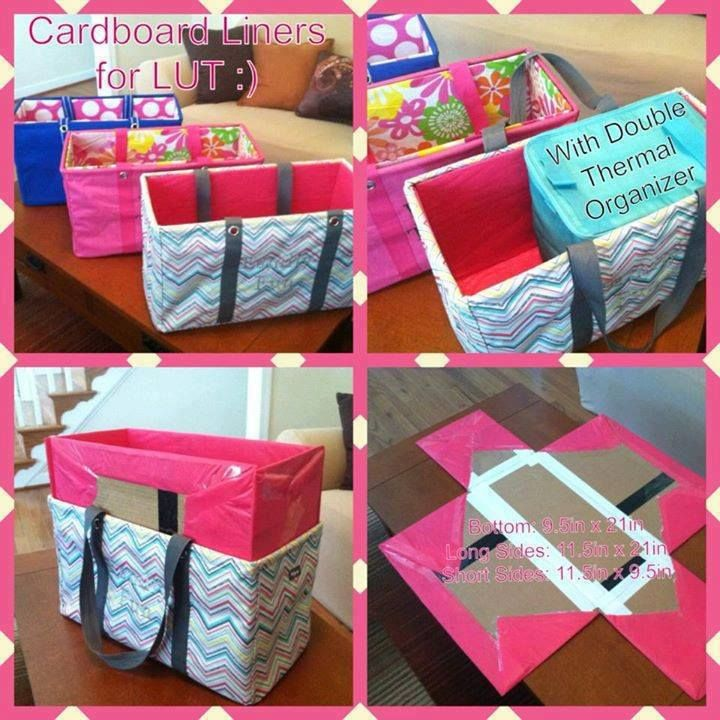 DIY cardboard liner to  make the Thirtyone large utility tote stand up straight.  Looks easy!
