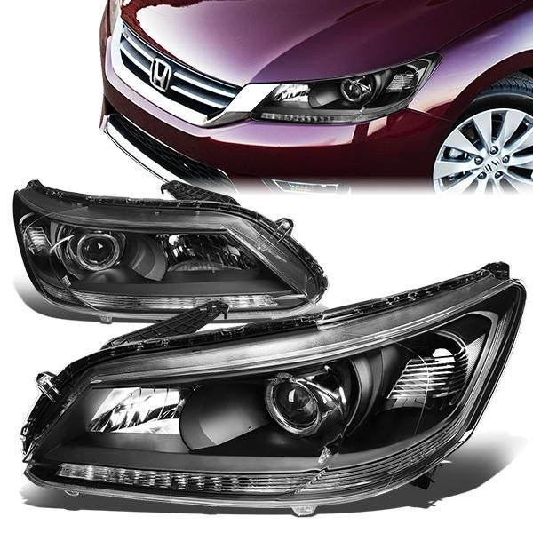 13 15 Honda Accord Sedan Projector Headlights Black Housing Clear Corner Honda Accord Projector Headlights Headlights