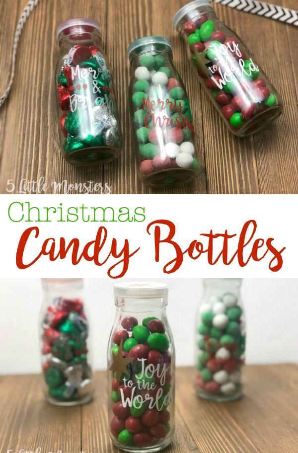 Christmas Candy Bottles Milk Bottle Craft Christmas Jars Christmas Neighbor