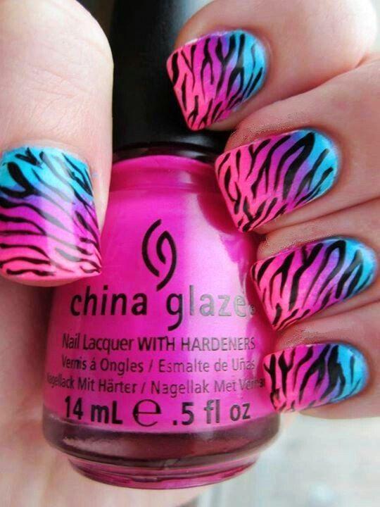 Zebra Print Nails Design,zebra-stripe nails for girls,Pink and Blue Zebra Print…