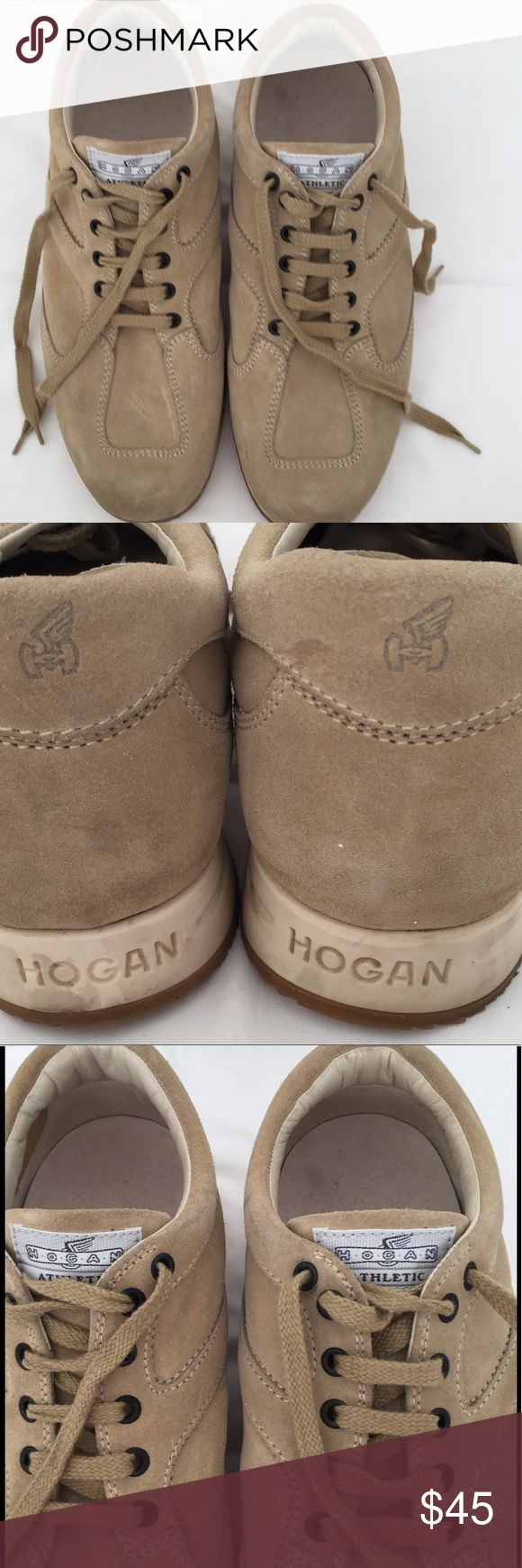 "Hogan Men's Beige Suede Sneakers Size IT 8 US 9 Hogan men's sneakers - beige suede - white base - tan grooved rubber soles - 1"" inner wedge foot beds - Hogan label tape on tongue - excellent used condition - worn only a few times - clean uppers and foot beds - very minor soiling to the base and very minor wear to the soles (see photos) - size IT 8 US 9 Hogan Shoes Athletic Shoes"
