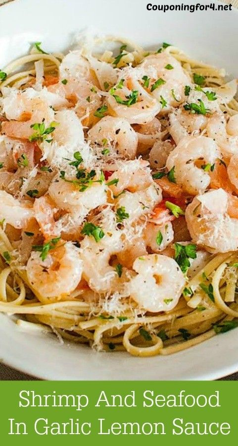 Shrimp And Seafood Pasta In Garlic Lemon Sauce Recipe - this looks fancy for dinner and is extremely tasty, but should be within your budget!