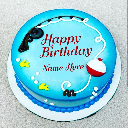 Finding New Fishing Cake For Birthday With Name Download Happy Birthday Fishing Cake Images Birthday Cake Writing Fish Cake Birthday Birthday Cake Write Name