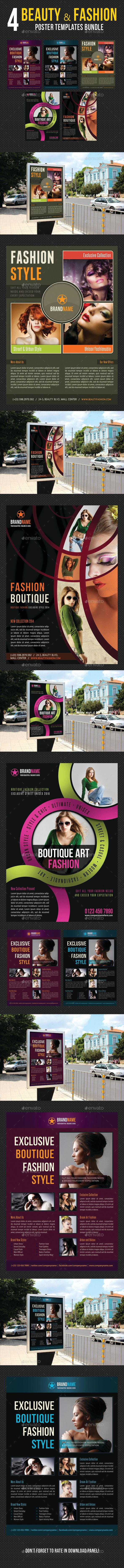 4 High impact Poster Template Layouts, perfect for business advertisement or pro...