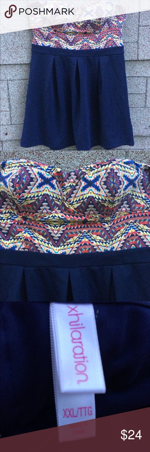 Xhilaration Plus Size Navy Blue Design Dress XXL Colorful Plus Size Mini Dress! Navy blue in color with upper portion of dress featuring cute designs of yellow, blue, & pink! Would be super cute paired with some heels or sandals! **Size XXL. Lightly worn. No holes, tears, stains, etc.** Xhilaration Dresses Mini