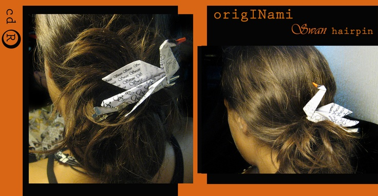 Originami swan is a hair pin, made of paper in origami technique and laquered to be firm and longlasting