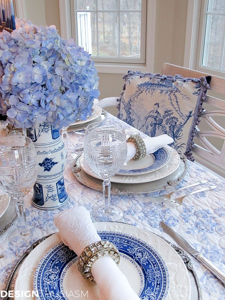French Toile in a Blue and White Holiday Table Setting by Designthusiasm featured on Cedar Hill Farmhouse.