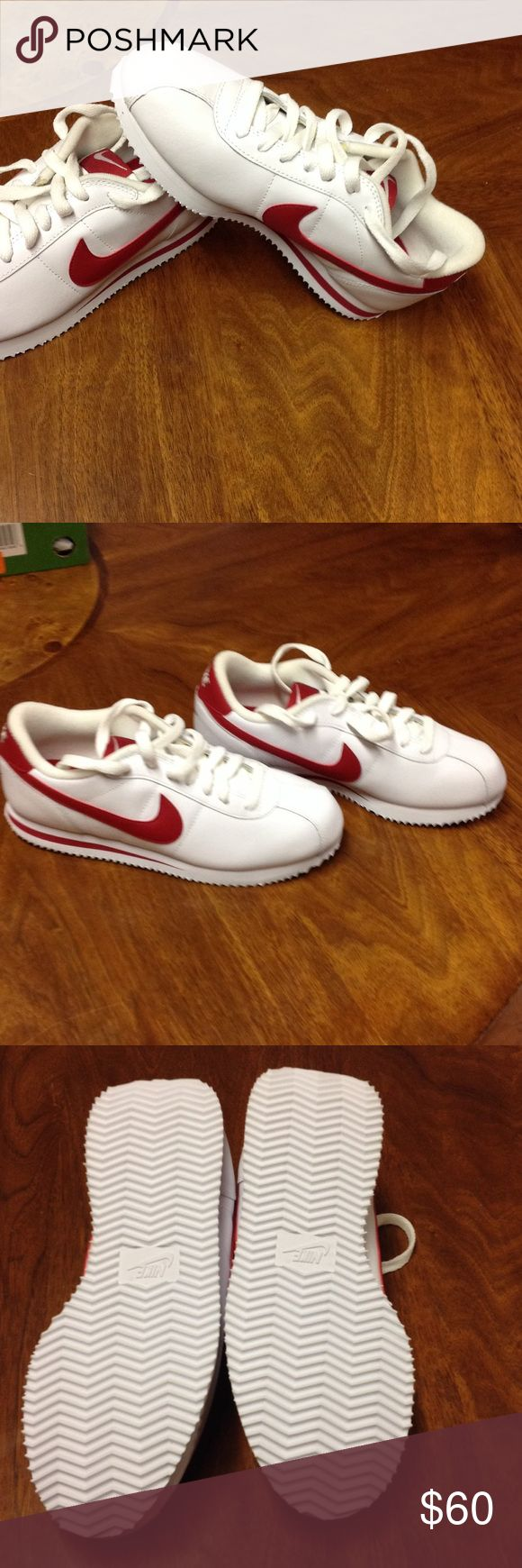 5Y or 6.5 women or 5 in men. Nike Cortez red Super hard to find shoes. Nike Cortez, leather red never been worn before, no tags, but new. Offers are welcome Nike Shoes Athletic Shoes