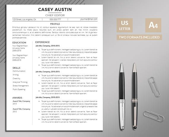 Resume Template  2 page Resume  Cover Letter  References