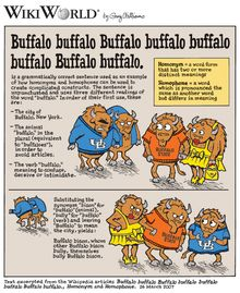 Buffalo buffalo Buffalo buffalo buffalo buffalo Buffalo buffalo. The longest grammatically correct sentence in English with only one word and actual meaning! <3