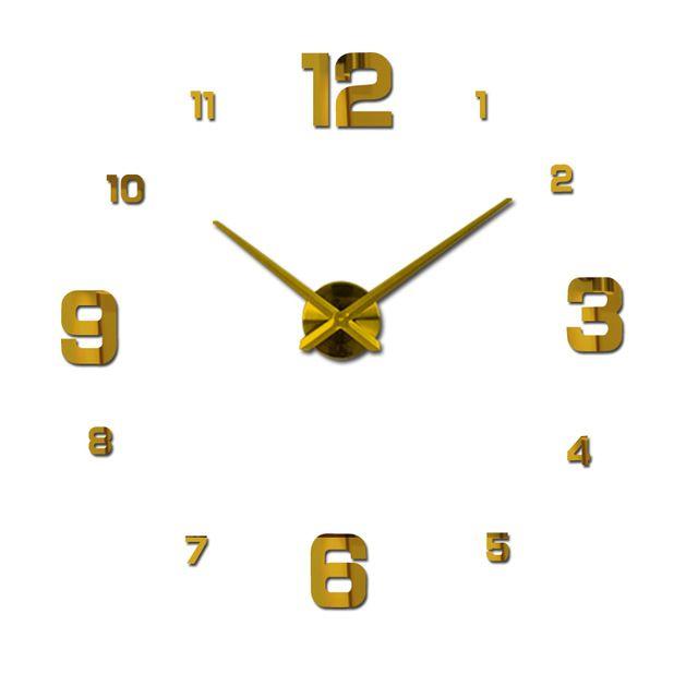 2017 free shipping new real metal 3d diy acrylic mirror wall clock watch clocks home decoration modern needle quartz stickers