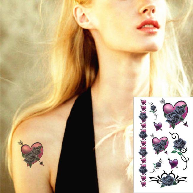 В форме сердца вина временные татуировки боди-арт флэш-тату стикер 17 * 10 см водонепроницаемый взрослых стайлинга автомобилей тату домашнего декора стикера стены