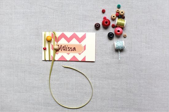 thread and beads..cute accent for cards, gifts, etc