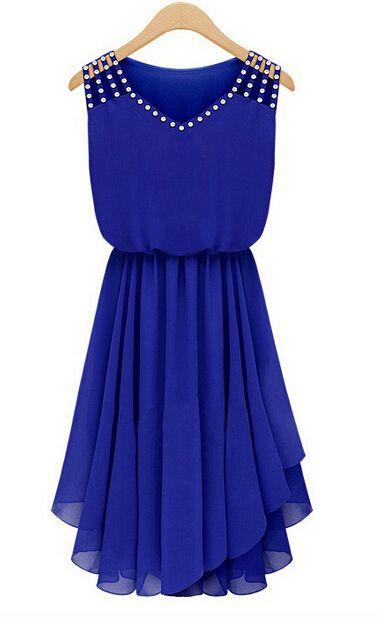 Asymmetrical Hem Rivet Design Blue Chiffon Dress