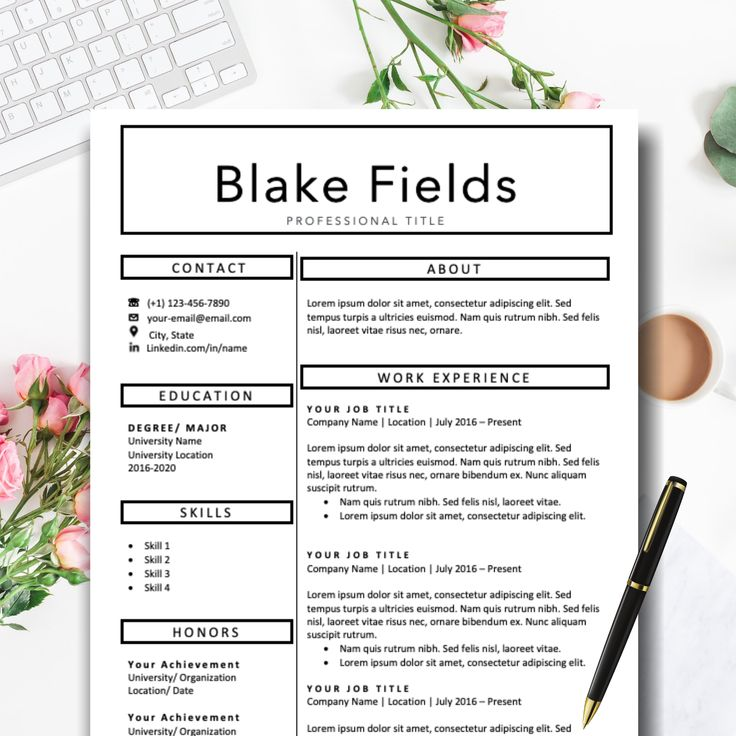 Professional resume template word cover letter