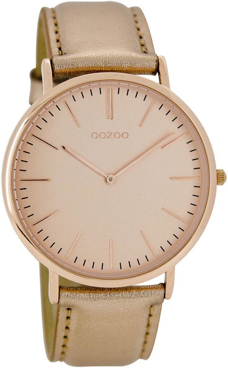 Oozoo Vintage Ultra Slim Leder 40 MM Rose/Rosegold C6946