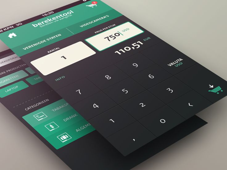 calculator / search screen by Sebastiaan Scheer (Netherlands)