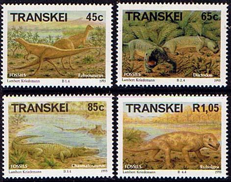 Transkei 1993 Prehistoric Animals Dinosaurs Set Fine Mint                    SG 301 4 Scott 287 90 Other African and British Commonwealth Stamps HERE!