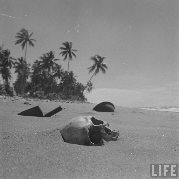 Beach at Guadalcanal in May 1951, 6 years after WW2 Ended From the LIFE Magazine Archives - Howard Sochurek Photographer