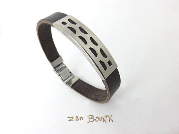 Bracelet Homme Bracelet Cuir Zen Chic Plaque Inox Motif