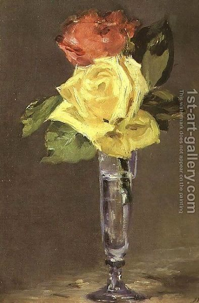 Edouard Manet: Roses in a Champagne Glass  1882 - reproduction oil painting