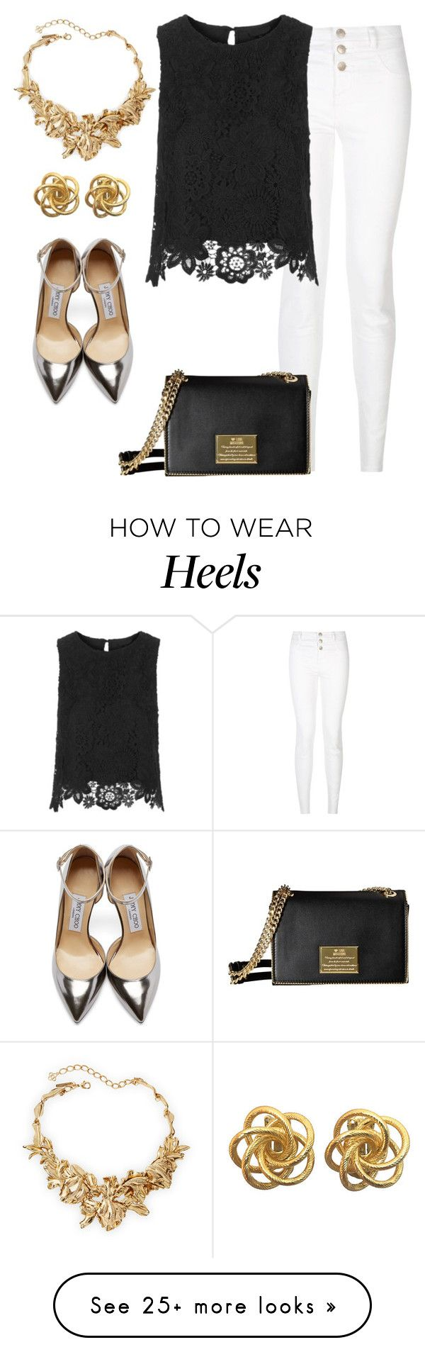 """Lunch meetings"" by burtiva on Polyvore featuring Jimmy Choo, Oscar de la Renta, women's clothing, women's fashion, women, female, woman, misses, juniors and gold"