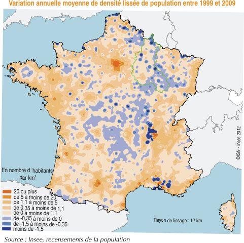Variation de la densité de population en France de 1999 à 2006