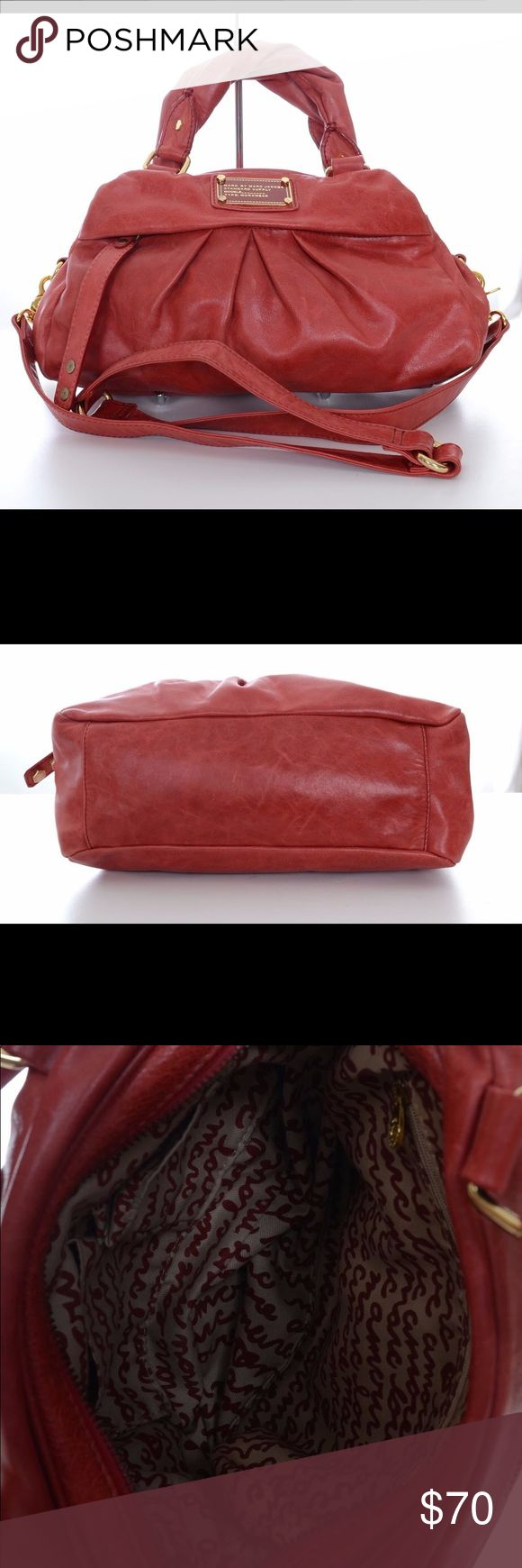 Marc Jacobs Purse Preowned but in very good condition. Distressed red leather with gold accents. Very clean inside. Marc Jacobs Bags Satchels