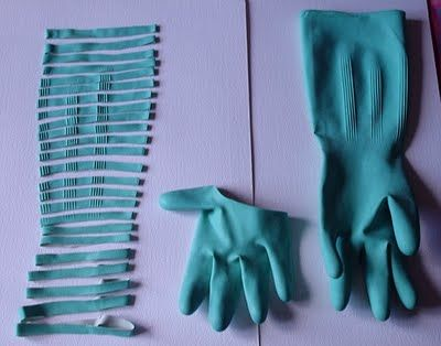 When rubber gloves get worn out cut them up into rubber bands.  I wish I'd thought of this the other day when I was frantically searching for, and couldn't find, ONE rubber band in this house! :-)