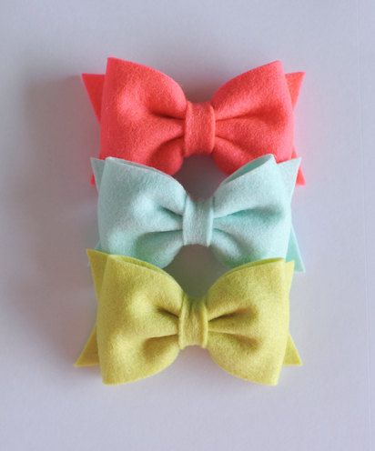 Limited Edition Felt Bows  Neon Pink Minty Blue by alittleladyshop