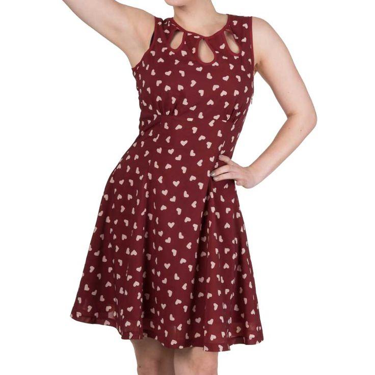 Tell The Story jurk met harten print rood/wit - Vintage Retro Rockabilly