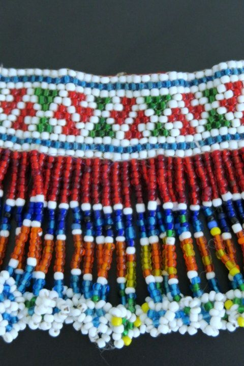 Colorfully beaded vintage choker necklace from the snake charmer Kalbelia (Kalbeliya) Gypsy Tribe of Northern India.