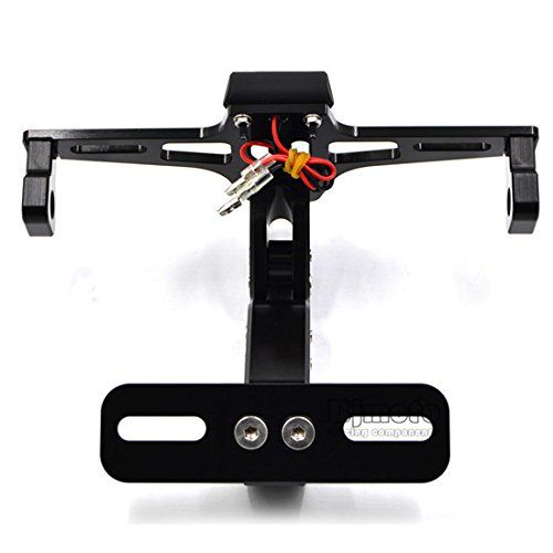 Adjustable License Plate Frames Holder Bracket With Plate light LED  https://www.amazon.co.uk/BJ-Global-Motorcycle-Aluminum-Adjustable/dp/B01MDUWJ83/ref=lp_12019928031_1_2?srs=12019928031