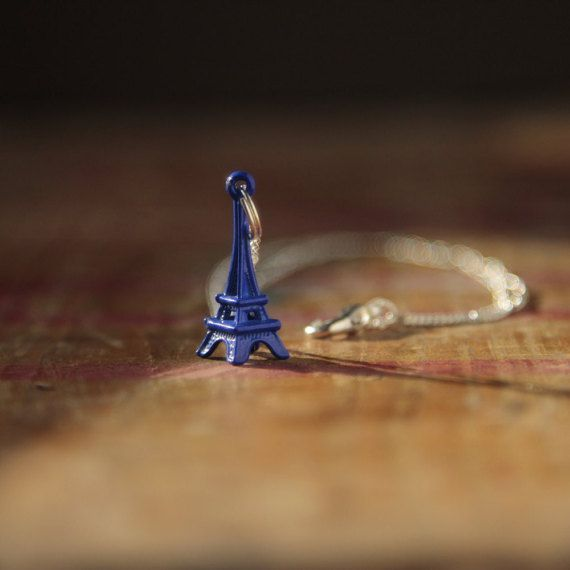Blue Eiffel tower necklace on silver necklace by TheDorothyDays