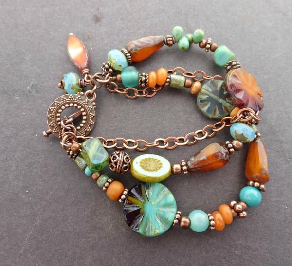 Chunky rainbow gemstone and copper bracelet. -  - McKee Jewelry Designs - 1