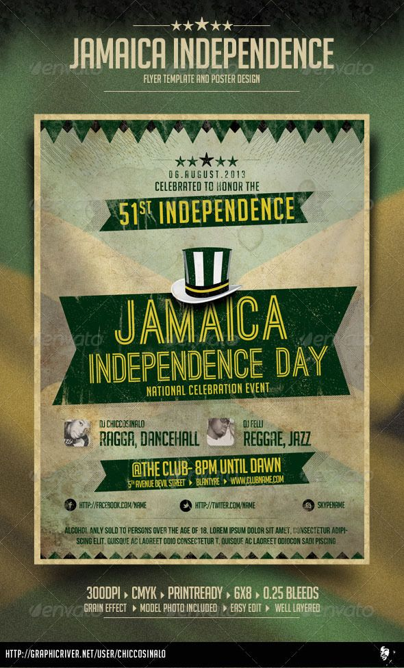 Jamaica Independence Day Flyer  #GraphicRiver         Jamaica Independence Day Flyer is great flyer design to celebrate jamaica independence day. it is a high quality flyer / poster and it is easy to edit flyer in PSD layers.  Whats in the file?   Size: 6×8in  0.25in Bleeds  300dpi    .PSD Document (Layered) 100% editable    CMYK Color mode    Free fonts    Help file  Font(s) used    Font list included in help file   	                            	        Created: 29January13…