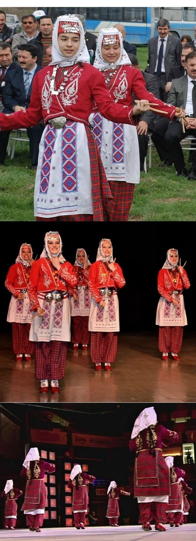 Folk dancers in a traditional (young women's) festive costume of the Bolu province. Clothing style: 1925-1950. These are recent workshop-made copies, as worn by folk dance groups.